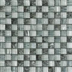 Ocean Pearl Grey & White  Blend -2  Glass Tile 1