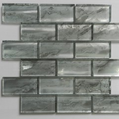 Nebula Silver 2X4 Metallic Glass Tile 1