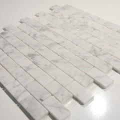 Carrara White 1 X 2 Polished Stone Brick Tile 1