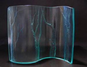 """Carved recycled glass sculpture """"WindBreak"""