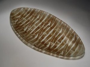 Recycled Glass Oval Plate with Brown Bamboo Print