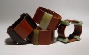 Recycled Glass and Leather Cuff Bracelets