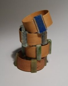 Glass and Wood cuff bracelets