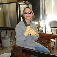 Jodi with a Hot Glass Paddle