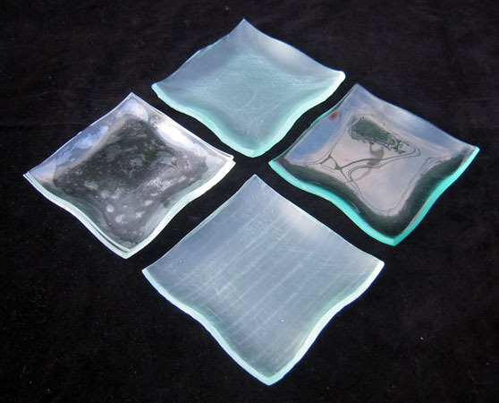 Wavy edge squares Window glass dishes