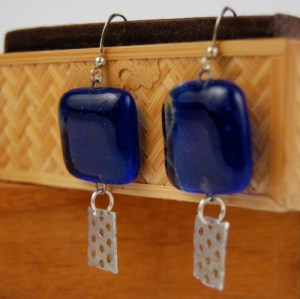 Recycled Bottle Glass and Aluminum Earrings