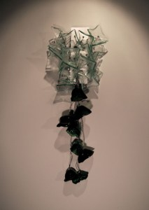 Recycled Window and Bottle Glass Sculpture