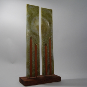 Cast recycled bottle glass sculpture