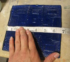 Measuring Fused Blue glass bottle