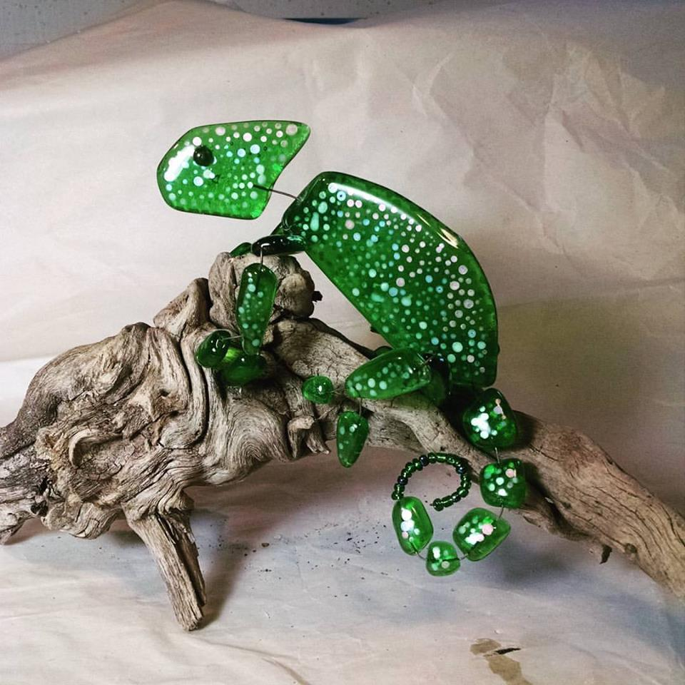 Fused glass Chameleon