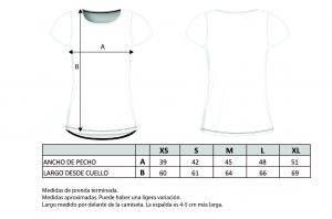 Glassy Guia Talla Camiseta Mujer
