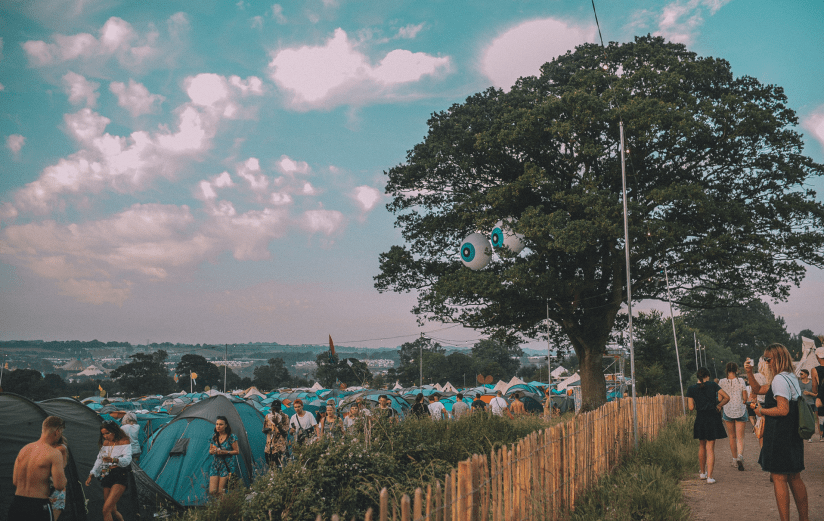 View over the tents of the Glastonbury Festival camping field