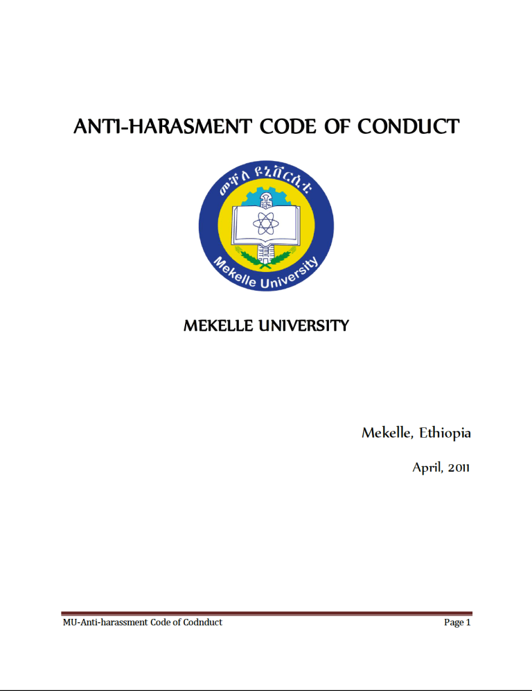 Anti-Harasment Code of Conduct - Mekelle University