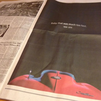 Prince Full Page RIP Ad by Chevrolet NYT