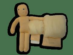 Babacsomag gyapjú töltőanyaggal, 38 cm-es babához.
