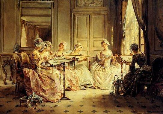 Madeleine Lemaire (1845–1928) : Kézimunkázó Hölgyek