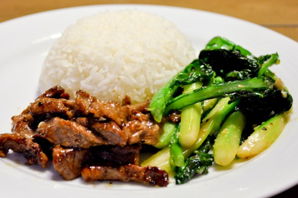 Beef Stir-Fry with Chinese Broccoli over Rice_