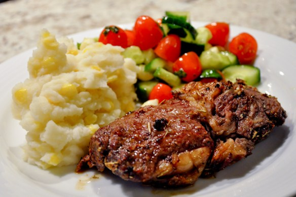 Rib Roast Corn Mash with Tomato Salad