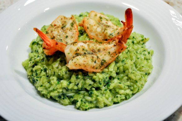 Grilled Shrimps with Triple Green Rice