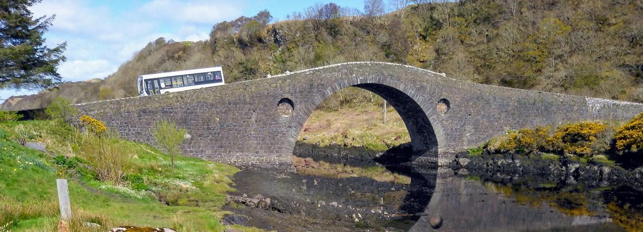 Old stone bridge crossing sea inlet from the Atlantic