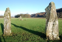 Two large standing stones dominate the glen