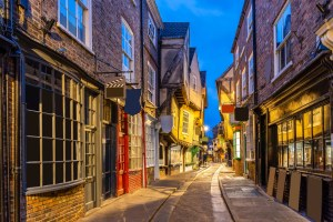 Night time shot of the Shambles in York