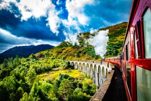 The Jacobite Express (also known as the Hogwarts Express) crossing the Glenfinnan Viaduct