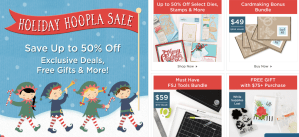 Holiday Hoopla Sale begins today; get awesome deals off Spellbinders and Fun Stampers Journey products while supplies last through https://www.spellbinderspaperarts.com/?sscid=b1k2_qngc