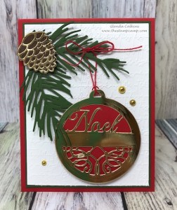 This is the Charming Round Tag Die from Spellbinders and the Cone & Branch die from FSJ combined together make the perfect Christmas card. #Spellbinders, #FSJ, #thestampcamp, #Dies
