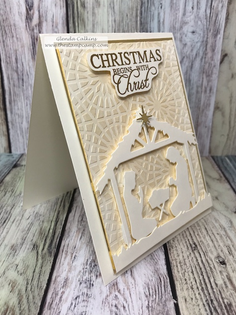 The Holy Nativity die set makes the perfect 3D projects as well as cards.  details www.thestampcamp.com #christmas, #fsj, #thestampcamp, #christmascard