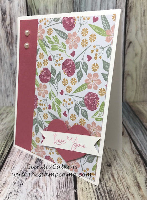 Floral Print from the Follow Your Heart Prints Pack.  This pack of printed papers has gorgeous prints for multiple occasions. This pack is from Fun Stampers Journey #fsj, #printedpapers, #thestampcamp, #cards