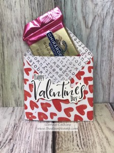 This is a treat holder created using the Follow Your Heart prints from Fun Stampers Journey. This super cute little treat holder will hold a Ghirardelli Chocolate and a special note. #fsj #thestampcamp #treats #treatholder