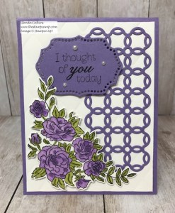 This birthday card is in the Highland Heather colors using the Climbing Roses and Rose Trellis Thinlits dies from Stampin' Up! Details can be found on my blog: www.thestampcamp.com #saleabration #stamps #stampinup #thestampcamp #birthday