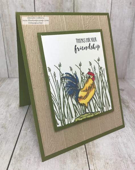 The Home to Roost stamp set is a Sale-a-bration set which means it is free with a min. $50.00 online order with me; www.thestampcamp.com #stampinup #thestampcamp #Rooster #handmade
