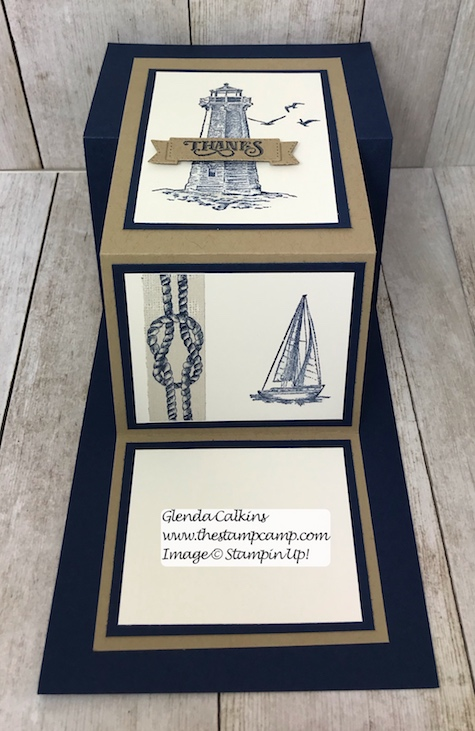This is the Sailing Home stamp set with the Come Sail Away DSP from Stampin' Up! Details on my blog here: https://wp.me/p59VWq-ad0 #stampinup #thestampcamp #masculine #sailinghome
