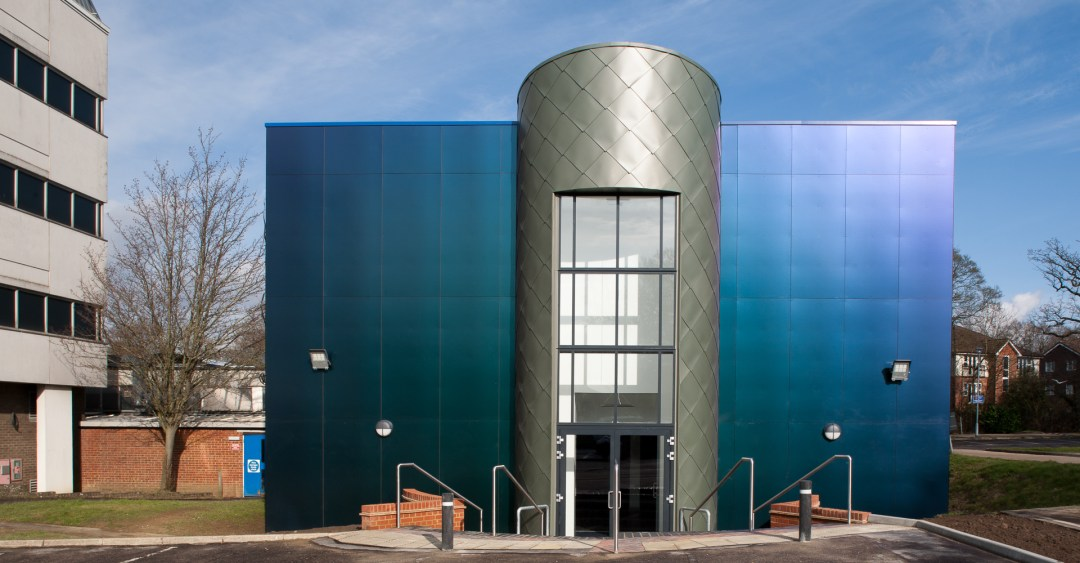 Central Sussex College Engineering Building with chameleon panels reflecting the sunlight in a variety of colours