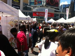 The queue for kara age at the Japanese festival at Dundas Square was easily ? 30 min long.