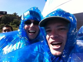 Blue ponchos are in.