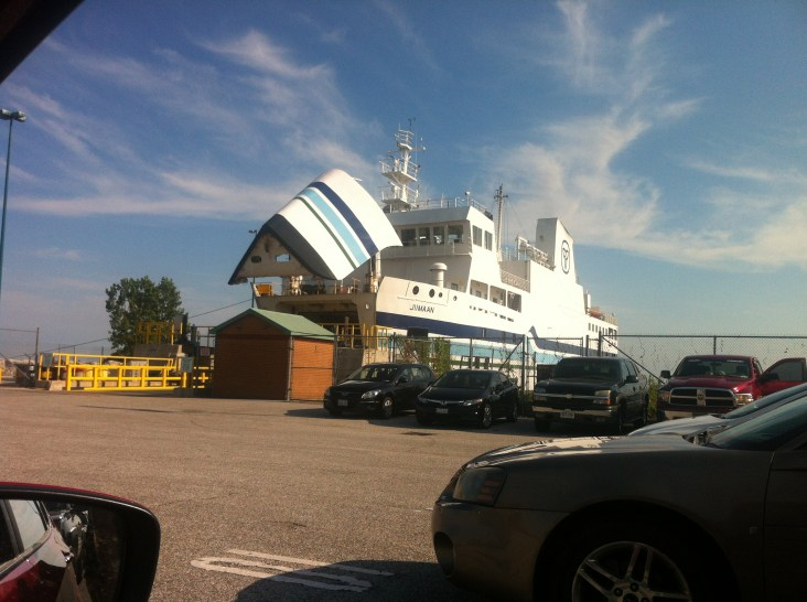 We drove the car onto a giant ferry.