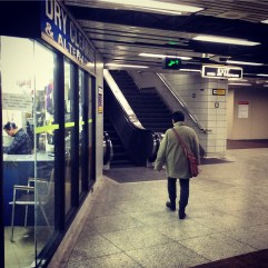 Christmas Eve subway is deserted.