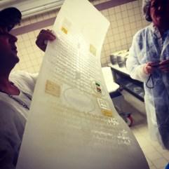 Imprint template. Parmigiano-Reggiano D.O.P. factory, Modena, Italia.