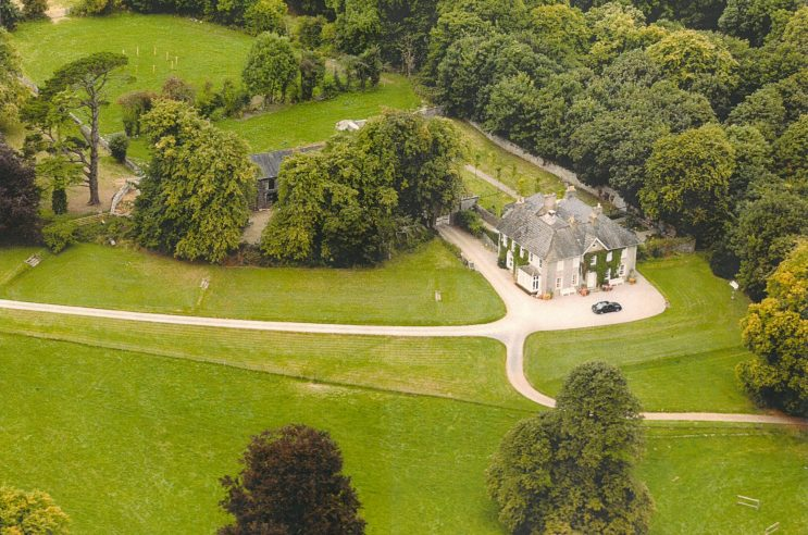 arial shot of glenlohane manor house ireland