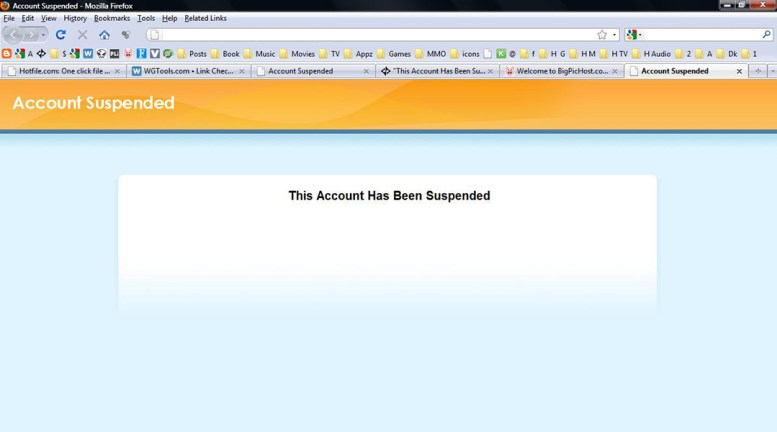"screen capture of a web browser showing a page that reads ""This Account Has Been Suspended"""