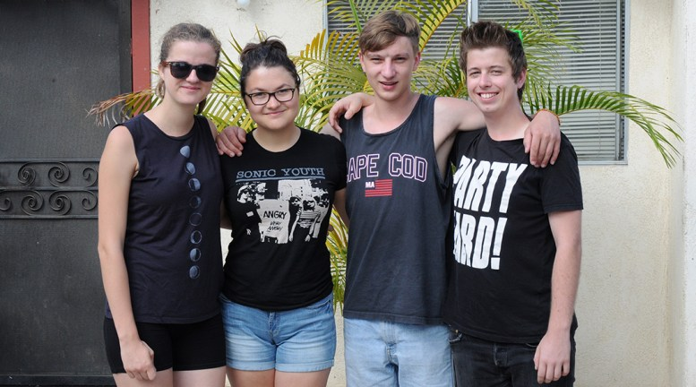 Uršulė, Greta, Lukas & Kristian from Lithuania & Slovakia standing together in front of my house in California