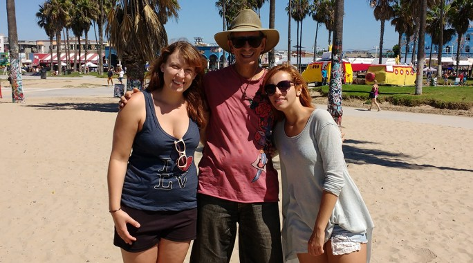 Marta, Glenn & Sara on the beach at the Venice Beach Legal Art Walls