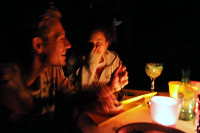 Denes & Csenge at the backyard dinner table