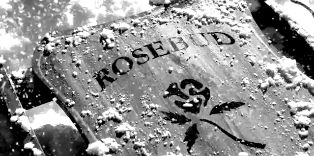 "Image from Citizen Kane showing the ""Rosebud"" sled"