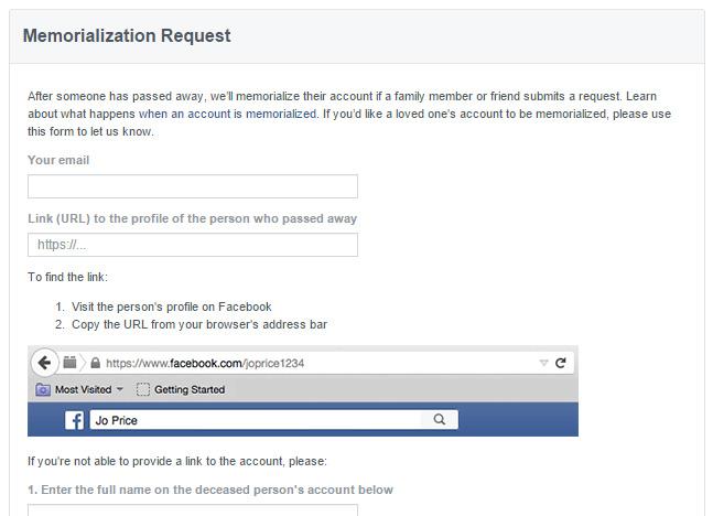 screen cap of a Facebook memorialization request