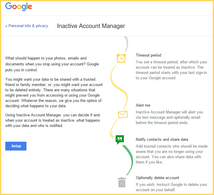 screen cap of options for setting up Google Inactive Account Manager