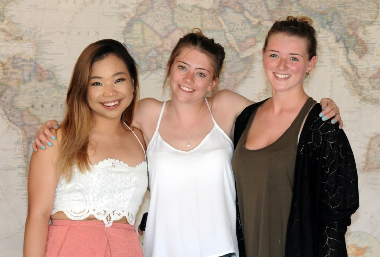 Rebecca Nguyen from Canada with Iona & Danielle from Scotland